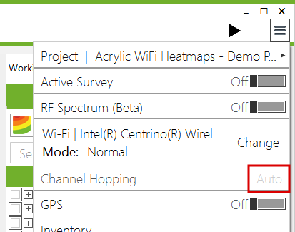 WiFi channel hopping configuration