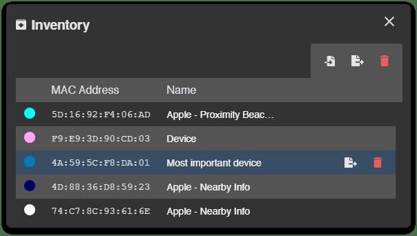 Acrylic Bluetooth LE Inventory Dark Theme