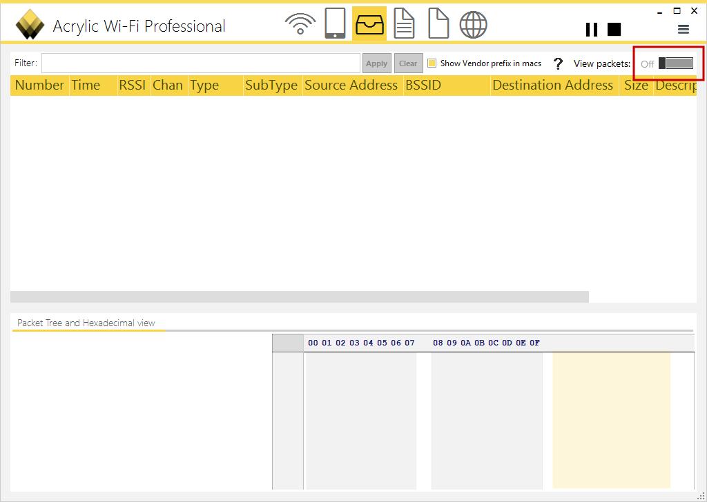 """Imagen 2: Botón de la sección """"Packets"""" desactivado"""