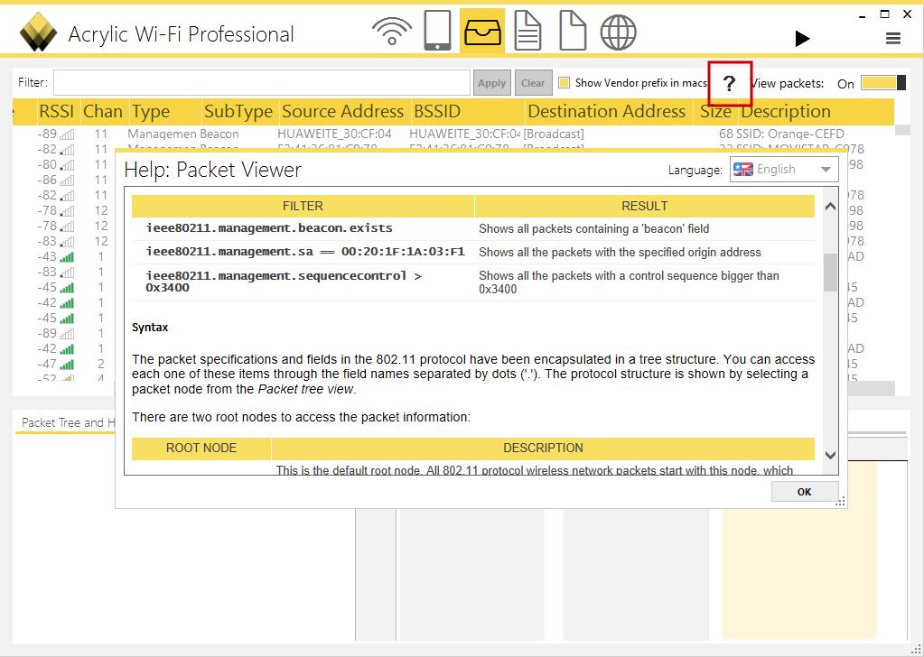 Imagen 4: Ayuda de filtros de paquetes