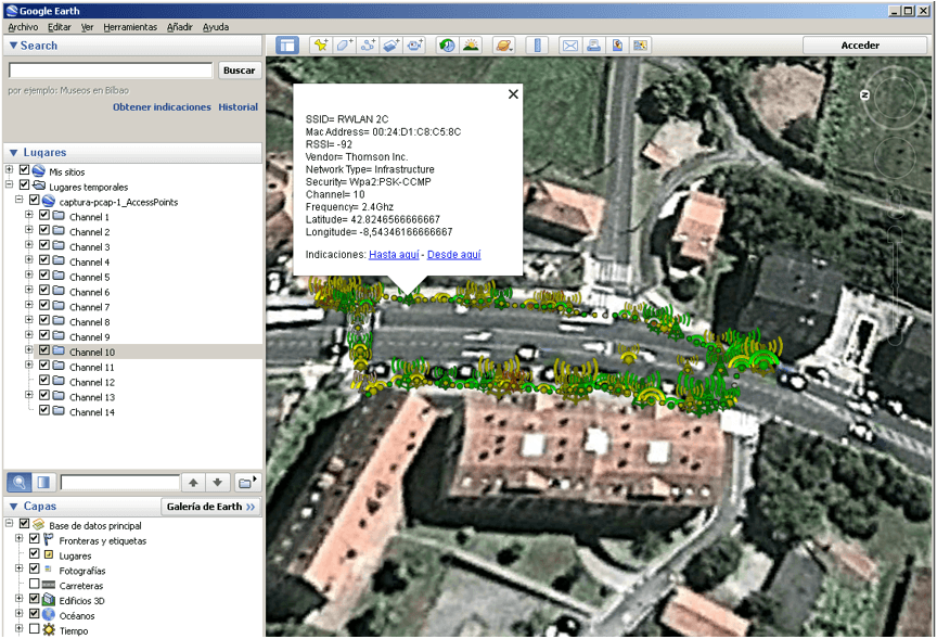 Cargar redes WiFi en Google Earth