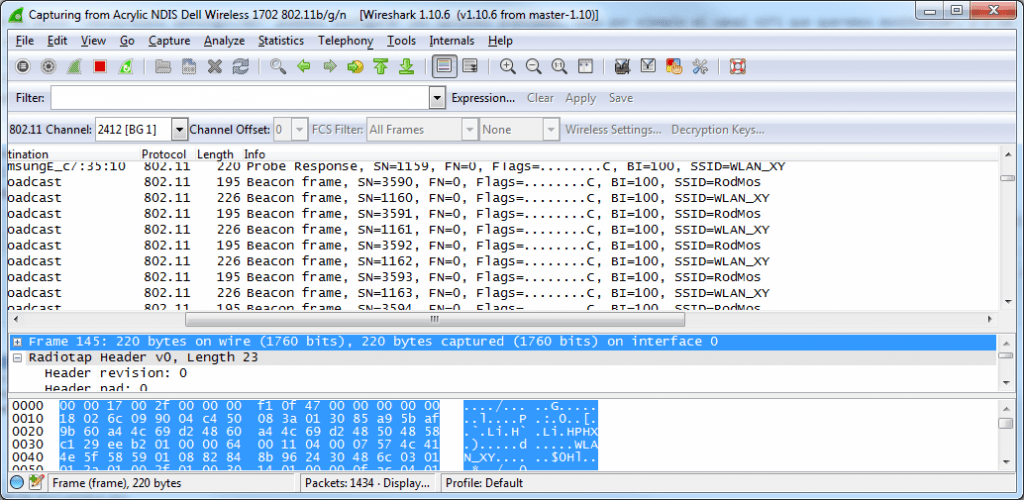 Wireshark Empfang NDIS WLAN Windows