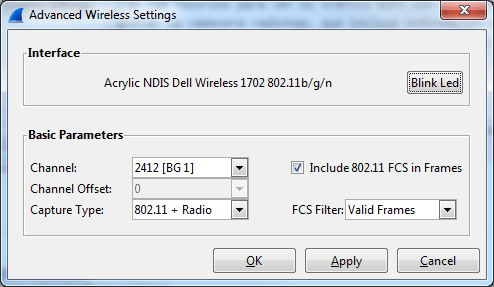 Wireshark Auswahl des Kanals mit WLAN Karte NDIS in Windows