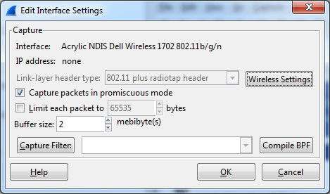Wireshark NDIS WiFi interface detail under Windows