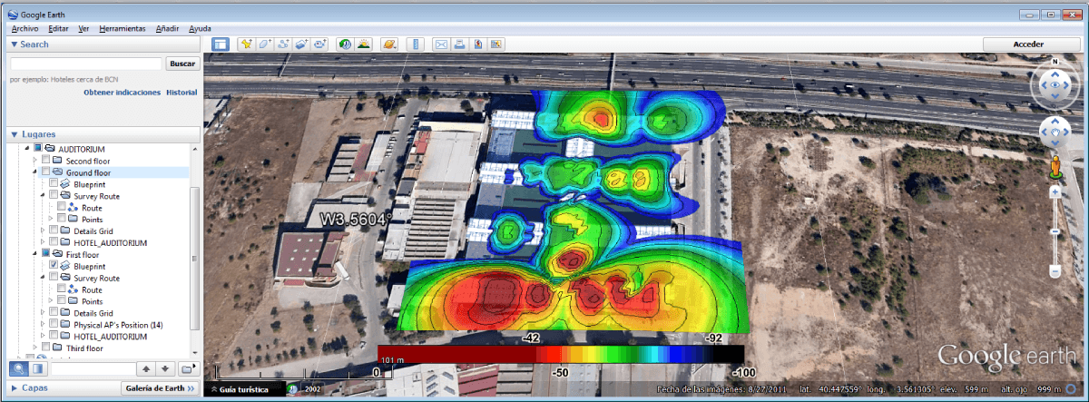 mapa de cobertura wifi en google earth - Fichero kmz