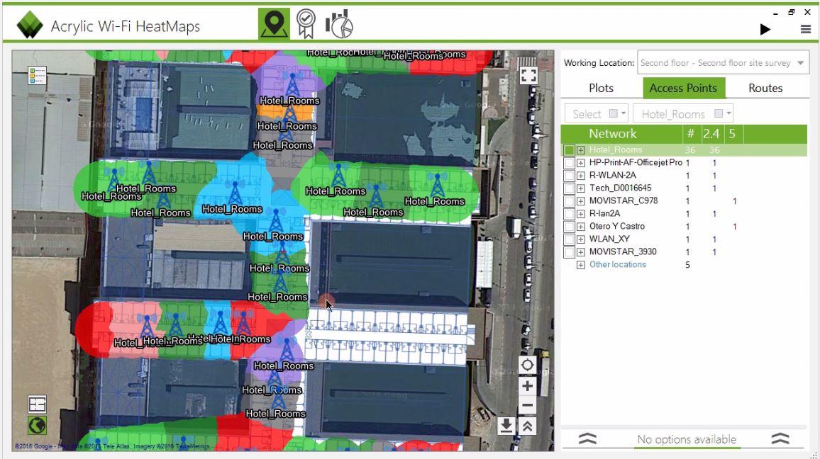 Plot que localiza los puntos de acceso APs en site survey Wifi