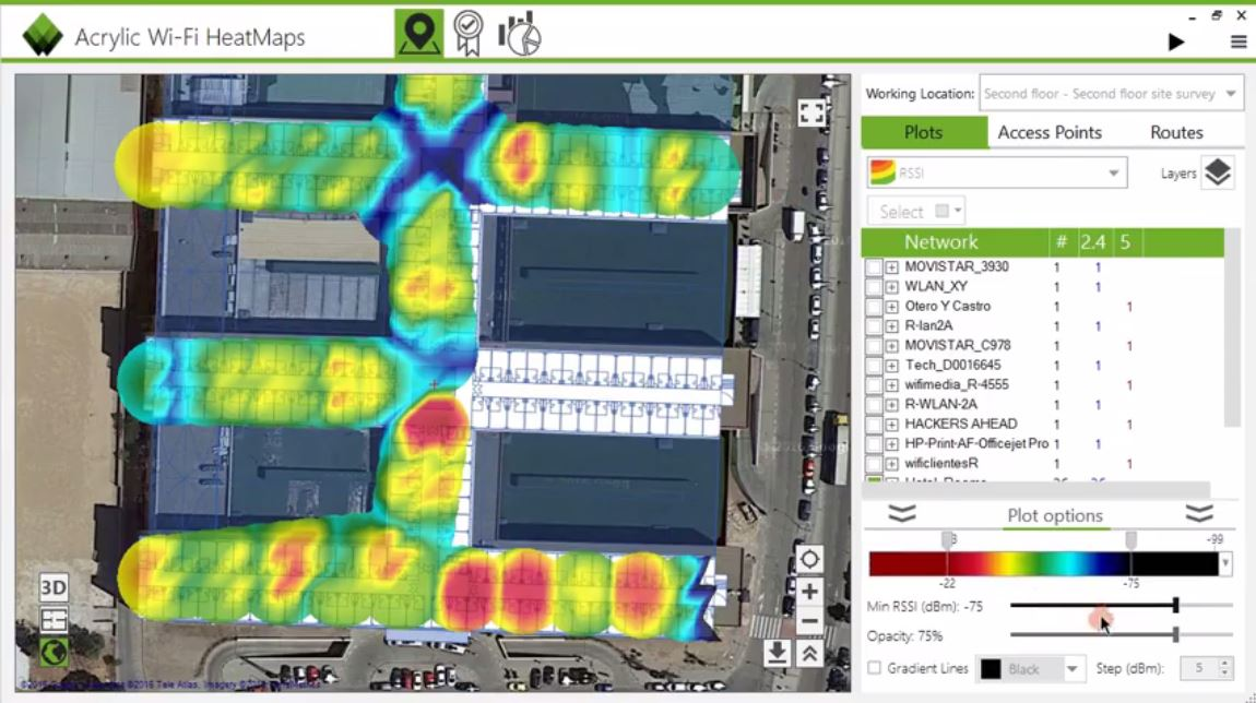 Plots de heatmaps del site survey wifi
