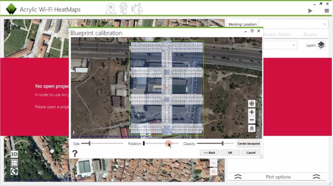 Calibrar los blueprints de la localización sobre GIS de Google Maps