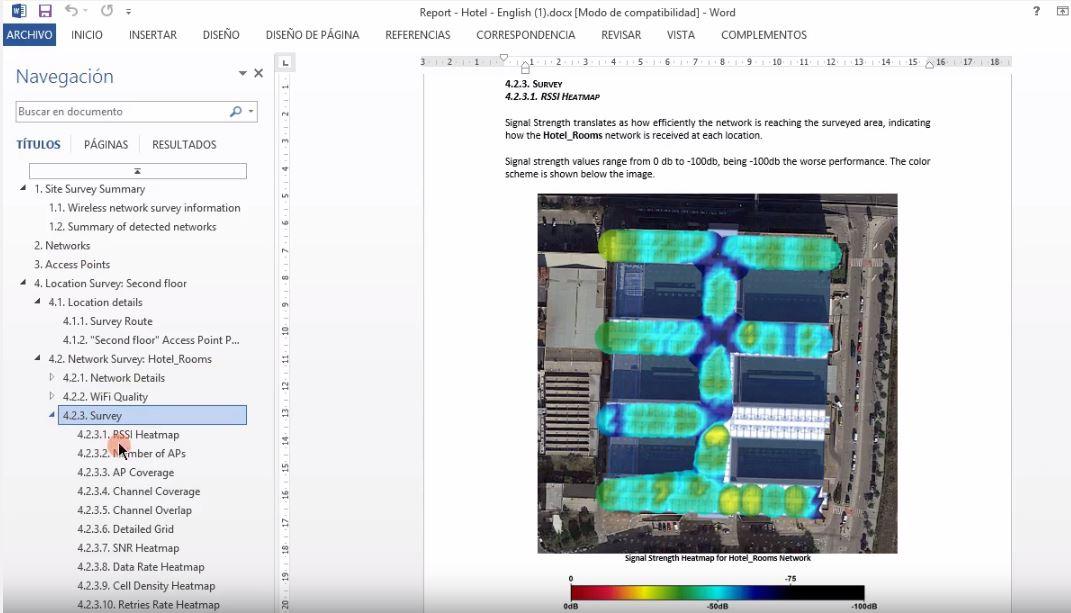 Generar informe detallado Site Survey con Acrylic Wifi