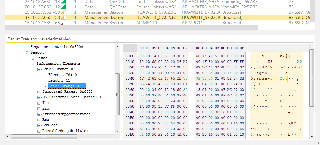 Hidden SSID Wi-Fi Network in a Management Beacon Packet