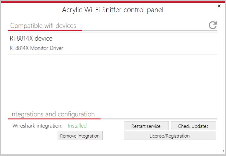 panel de control sniffer wifi
