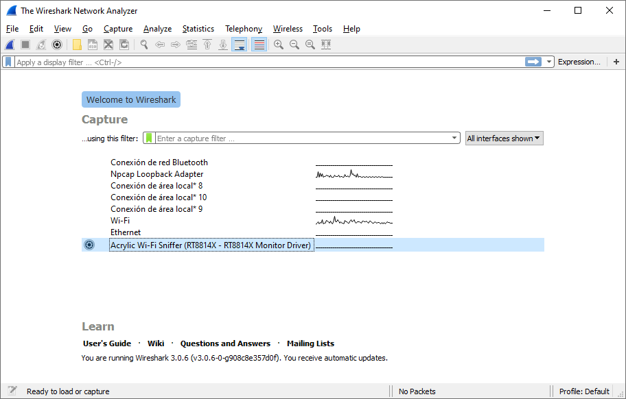 ¿Como capturar tráfico WiFi con Wireshark en Windows?